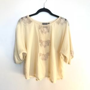 Anthropologie | Cream Lace Dolman Top